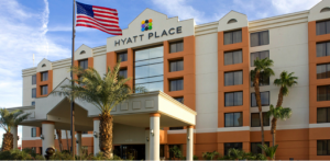 The unassuming exterior of the Hyatt Place Las Vegas.