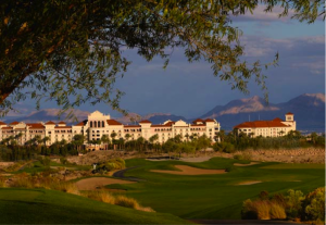 The JW Marriott with Red Rock Canyon in the background.