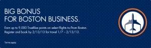 Earn Bonus TrueBlue points with JetBlue when flying from Boston.