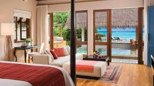 Beach villa with private plunge pool at the Four Seasons.