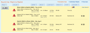 Miami- Madrid for $1,833