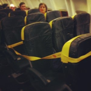 Seats blocked out.