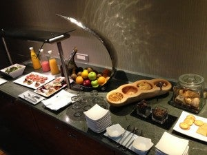 Club lounge breakfast spread.