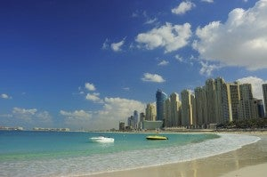 Blue skies over Dubai Marina