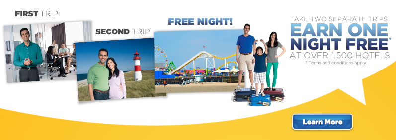 Every two stays earns one free night.