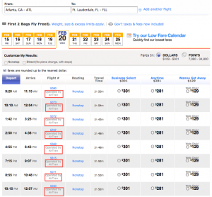 AirTran codeshare flights are now bookable between ATL-FLL on Southwest.