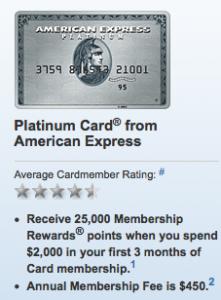 The current Platinum Card offer is 25K bonus points.