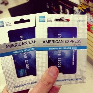 The goods: Prepaid cards that can be used anywhere- similar to a regular Amex card, but paid upfront