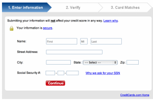 The Card Match Tool will not pull a hard inquiry on your credit