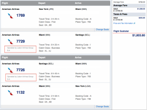$901 total per person, roundtrip business class with LAN business class on the MIA-SCL legs