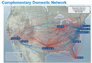 The new airline should combine most domestic routes with some exception per the DOJ settlement.