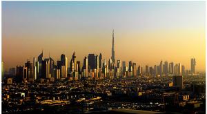 The Burj Khalifa towers over the Dubai skyline.