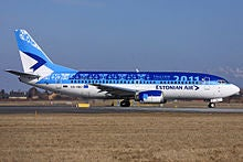 Estonian Air Boeing 737-300 ready for take off Copenhagen Airport.