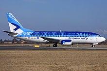 Estonian Air Boeing 737-300 ready for take off Copenhagen Airport.