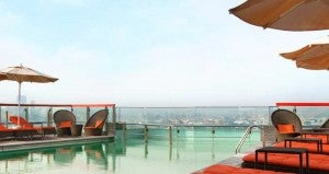 Rooftop pool at the Hilton Dubai Creek.