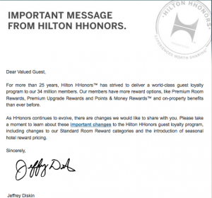 The devaluation announcement Hilton sent out to HHonors members.