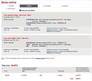 This roundtrip JFK-CDG trip would be nearly $5,000!
