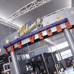 Even the airport in Vegas is flashy and welcoming.
