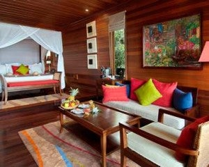 A guest room at the Hilton Seychelles.