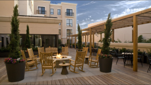 The terrace at the new boutique hotel, Andaz Napa, located downtown.