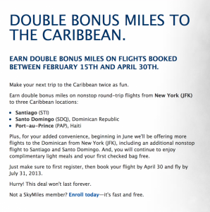 Earn double SkyMiles on these Caribbean Routes.