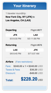 JFK-LAX for under $230 roundtrip when using JetBlue's 20% promo code.