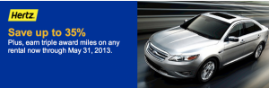 United MileagePlus members can earn triple miles with Hertz.