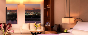 A superior king guest room at the InterContinental Dubai Festival City.