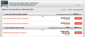 Rate comparisons using points and Points + Cash for Country Inn & Suites By Carlson.