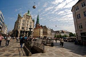 The pedestrian zone of Stroget in Copenhagen.