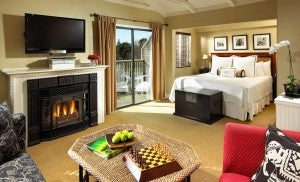 Deluxe rooms at the feature a fireplace and private deck.