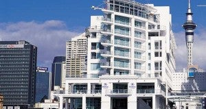 The exterior of the Hilton Auckland.