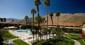 Pool and courtyard area at the Hilton Palm Springs Hotel.