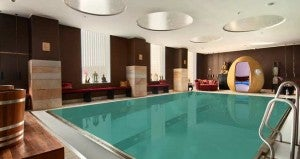 The indoor pool at the Hilton Copenhagen Airport Hotel.