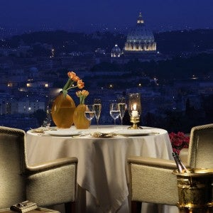Better reserve your room at Rome Cavalieri for a table with this view before points rates go up.