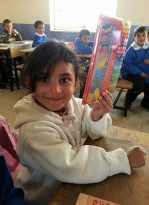 Schoolchildren in Van, Turkey receive school supplies from Pack for a Purpose, delivered by the Ritz-Carlton Istanbul.