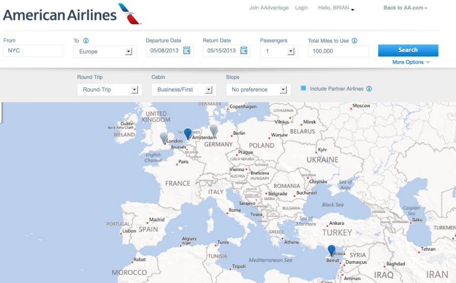 American Launches Award Map Feature Tells You Where You Can Go Airline Hubs Map Aa