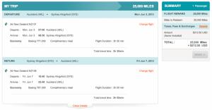 Air New Zealand AKL-SYD Economy