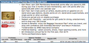 Amex Premier Rewards Gold at 50,000 points and the first year $175 waived