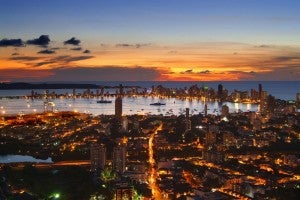 Sunset over Cartagena Harbor.