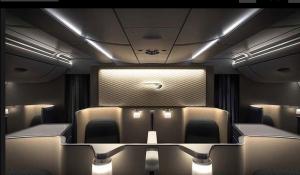 The business class cabin looks pretty swanky.