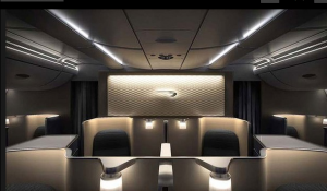 The business class cabin looks pretty swanky.
