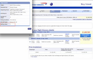 Always confirm the fare class before purchasing