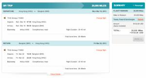 Thai Airways Hong Kong to Bangkok in Economy