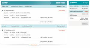 HNL-AKL in Business Class on Air New Zealand is only 90,000 miles and $95.60