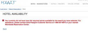 Hyatt Gold Passport Error