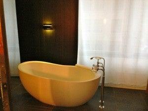 Loved the bathroom's freestanding tub.