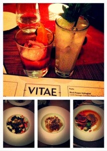 As first-timers at Vitae we had to try to foie gras, squid ink pasta, lamb sausage, and duck confit.