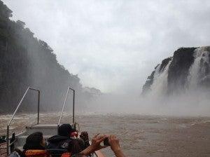 Approaching the falls in the zodiac.