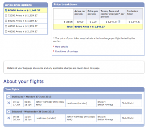 Using BA Avios will cost you $1,149 extra on this route.